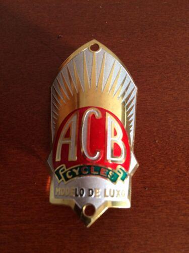 ACB HEAD BADGE NOS Vintage Bicycle Parts