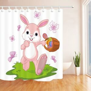 Image Is Loading Easter Shower Curtain Bunny Hiding Eggs Polyester