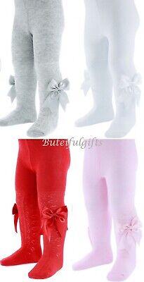 Baby Girls Spanish Style Romany Ribbon Bow /& Diamond Jacquard White Rose Tights