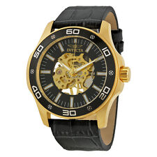 Invicta Specialty Hand Wind Skeletal Dial Grey Leather Mens Watch 17261
