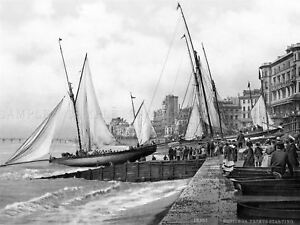 Hastings-Yachts-Starting-England-Vintage-Old-BW-Photo-Canvas-Art-Print