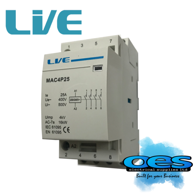 CONTACTOR 25 AMP 4 POLE AC 16kW NORMALLY OPEN HEATING LIGHTING DIN RAIL MOUNTING