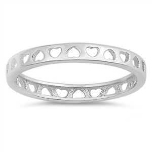 Women/'s Eternity Heart Promise Ring New .925 Sterling Silver Band Sizes 3-10