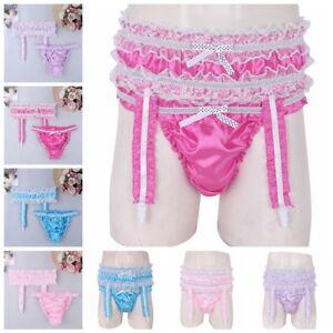Men-039-s-Satin-Underwear-Sissy-Bulge-Pouch-Panties-Briefs-Underpants-with-Garters