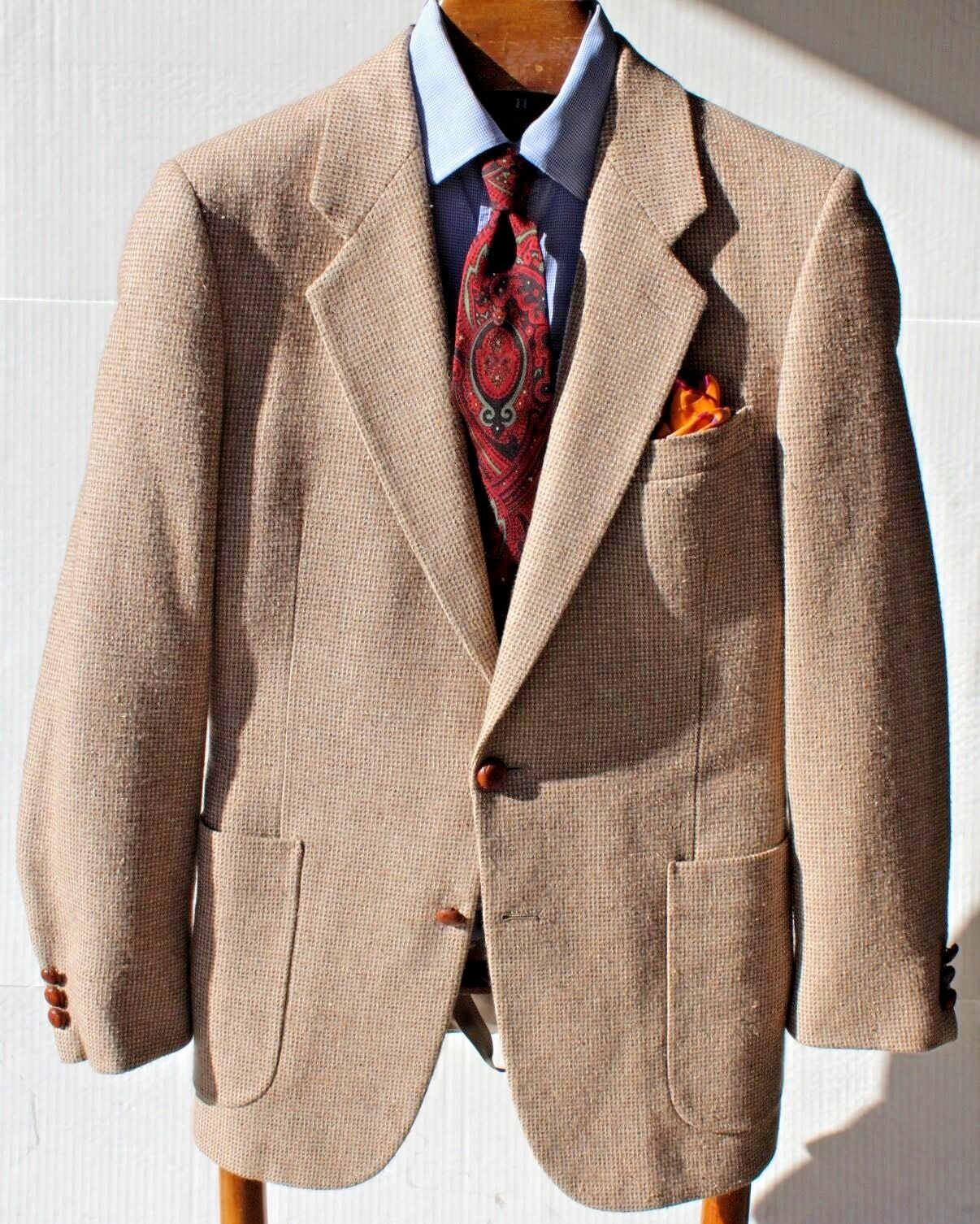 Malibu Clothes Beverly Hills Gent's 39R Fall Beige Tweed Wool & Silk Blazer