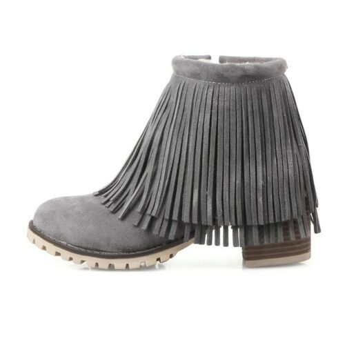 Details about  /Womens Tassel Ankle Boots Block Mid Heels Round Toe Winter Boots Side Zip Shoes