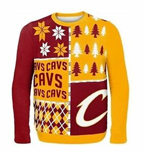 39fc6b9ccf0 Image is loading Cleveland-Cavaliers-Cavs-Ugly-Sweater-Busy-Block-NEW-