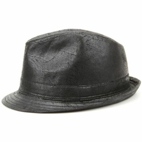 Vegan Trilby Hat Vintage Effect Cracked Leather Black Costume New