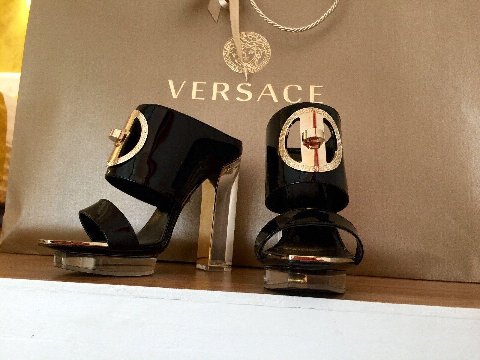 New Versace black black black patent leather transparent heel mules b66ca0