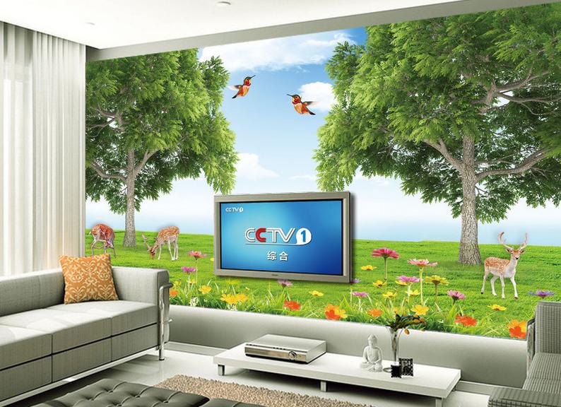 3D Vogel Hirsch Wald 73 Tapete Wandgemälde Tapete Tapeten Bild Familie DE Summer