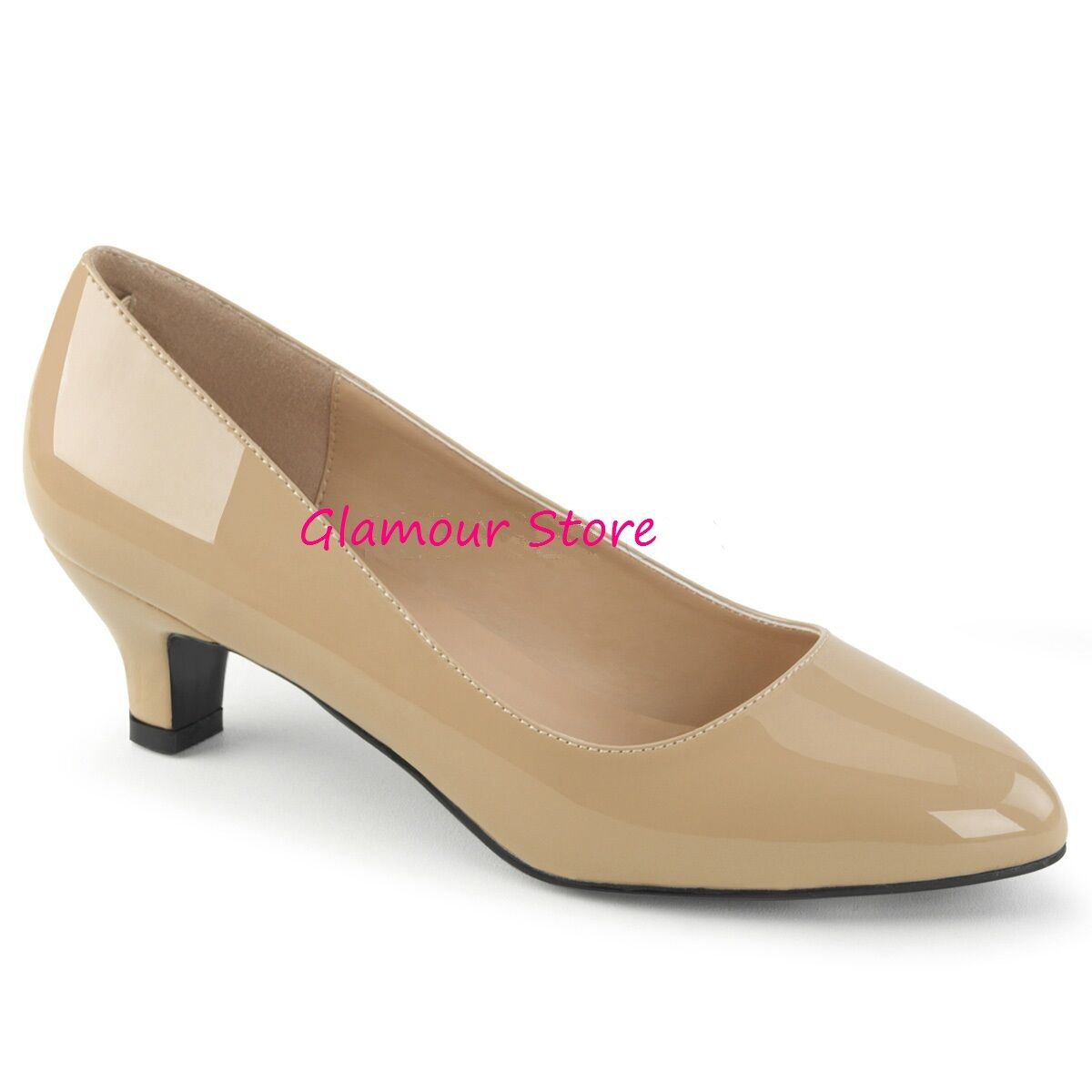 DECOLTE' tacco 5 cm CREMA LUCIDO dal 39 al 46 shoes SEXY fashion GLAMOUR