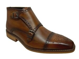 La-Milano-Luciano-Men-039-s-Double-Monk-Strap-Tan-Leather-Dress-Boots-B51924