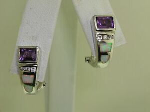 BEAUTIFUL-STERLING-SILVER-AMETHYST-FIERY-OPAL-amp-WHITE-TOPAZ-EARRINGS