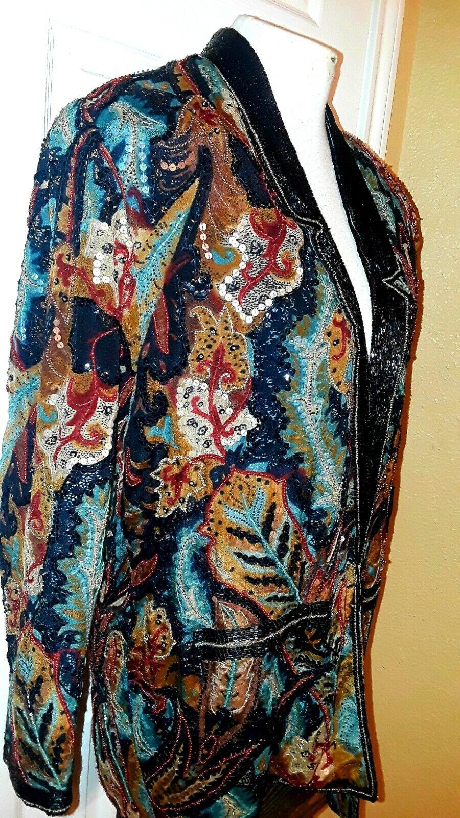 ❤👀Judith Anne Creations Inc Vintage Heavily Beaded Silk 100% Silk Jacket Sz XS