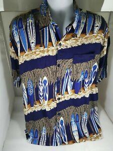 Mens-ROYAL-CREATIONS-Blue-Brown-White-Surfboards-Hawaiian-Shirt-XL-100-Rayon