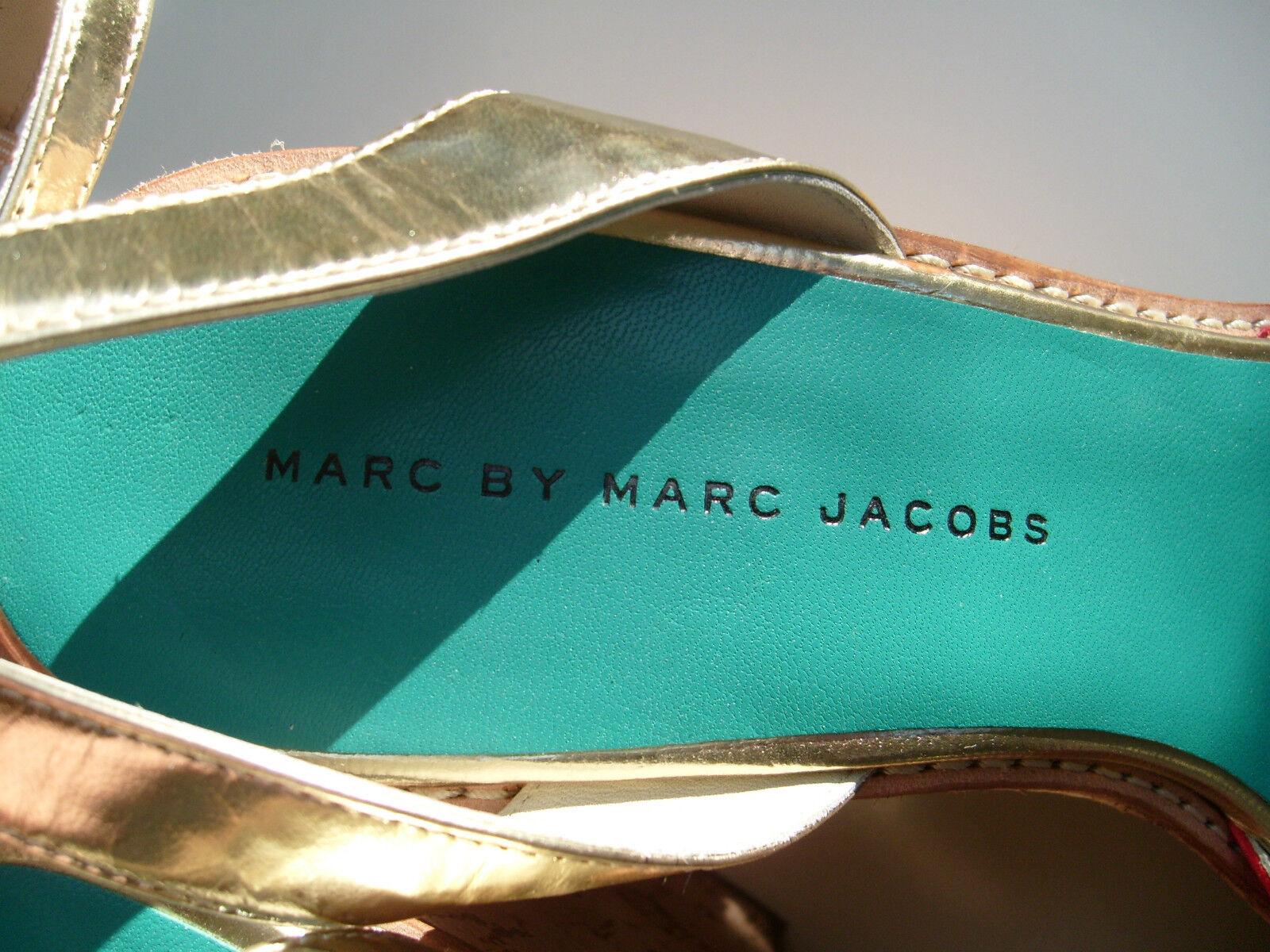 MARC by M JACOBS Damen Leder Plateau Kork Wedge Sandaleette in Gr D 40 40.5 Neuw