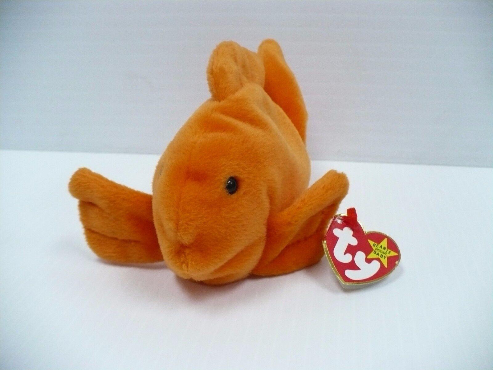 RETIRED rare 1993 goldie The goldfish Beanie Baby WITH ERRORS