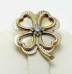 Vintage-14k-Gold-1-5ct-Diamond-Lucky-4-Four-Leaf-Clover-Hearts-Brooch-Pin