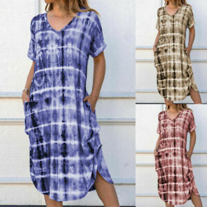 Women-Short-Sleeve-Baggy-Casual-Loose-Kaftan-Dress-Summer-Pocket-Midi-Dress-Tops