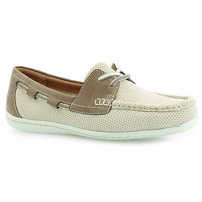 Nuevo Clarks GAYNOR SUE Off White antideslizante en mocasines zapatos Reino Unido 5.5D