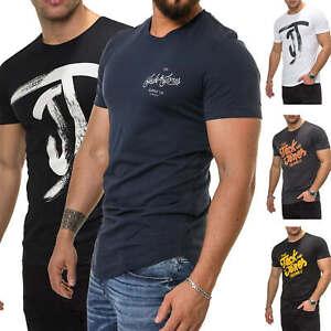 Jack-amp-Jones-T-Shirt-Hommes-Manches-Courtes-Shirt-Top-Print-Shirt-Casual-Basic-O-Neck-NEUF
