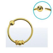 """Nose Ring Hoop 18KT Gold Plated 3/8"""" - 8.8mm Ball Indian Design 22 Gauge 22G"""