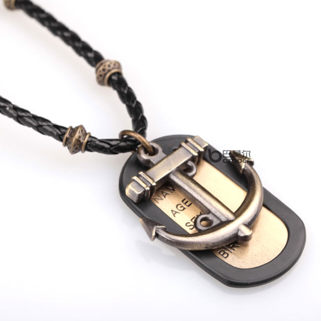 High Quality Mens Womens Unisex anchor Charm Pendant PU Leather Necklace Cord
