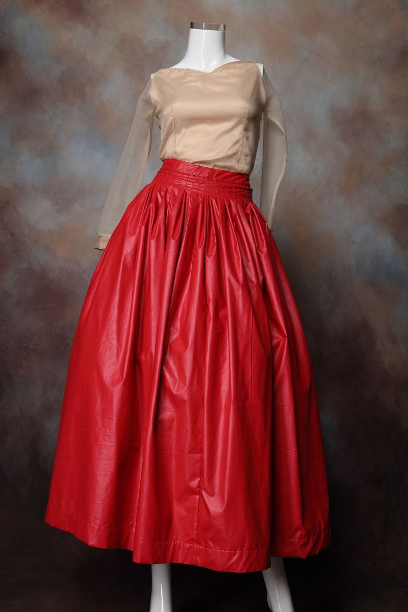 PLUS SIZE RED  High Waist Faux Leather Slim Skirt HL028 plus 7x (SZ 40-42)