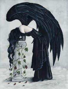 Fantasy-Art-PRINT-Angel-Despair-Gothic-Black-Wings-Column-Clouds-Depression-Sad