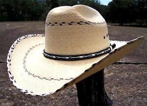 NEW SAHUAYO Palm Leaf Straw CATTLEMAN PINTO Western Cowboy Hat Men s ... b39f7a83304