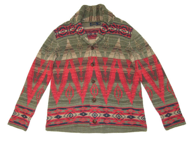 apelación Varios Conjugado  Polo Ralph Lauren Southwest Beacon Knit Shawl Collar Cardigan Sweater Large  for sale online