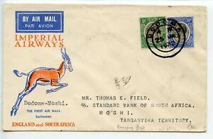 TANGANYIKA-Imperial-Airways-Springbok-1932-1-25-Dodoma-to-Moshi-Emergency-flight