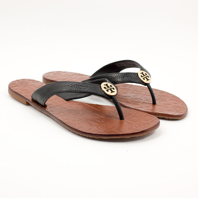 82faa5b39db Tory Burch Thora Black Tumbled Leather Thong Sandal With Gold Logo ...