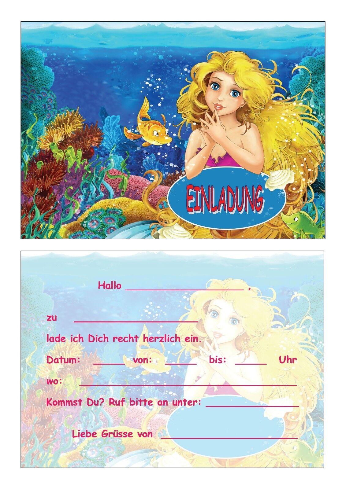 Einladungskarten Kinder Einladungen Kindergeburtstag Polizei Fussball Nixe  Fee   EBay