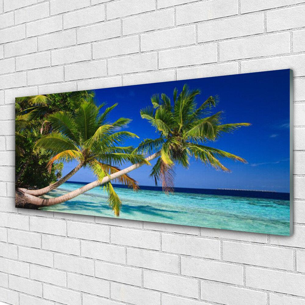 Impression sur verre Wall Art 125x50 Photo Image palmier mer paysage