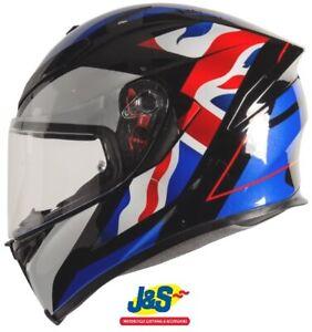 Agv K5 S Union Jack Full Face Motorcycle Helmet Uk Flag Red White Blue Black J S Ebay