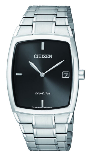 NEW Citizen Mens Silver Stainless Steel Eco-Drive Date Watch - AU1070-82E