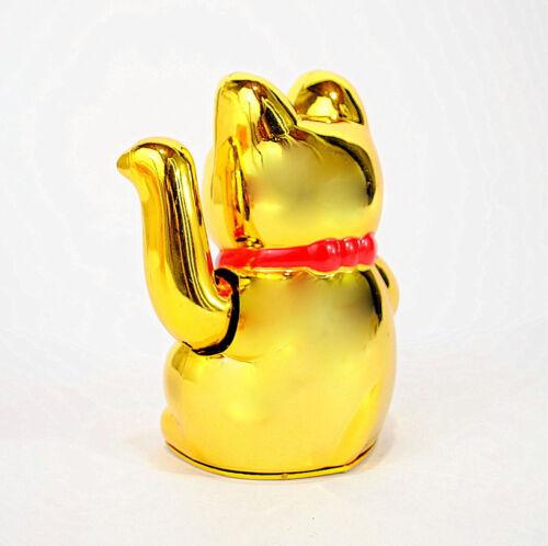 "LUCKY BECKONING CAT 5/"" Gold Wealth Waving Kitty Maneki Neko Feng Shui Japanese"