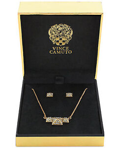 Vince Camuto Gold Tone Pave Pyramid Necklace & Earrings Set in Gift Box $65