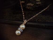 Elegant Vintage Light Sapphire Crystal & Pearl Drop Pendant Necklace. Signed