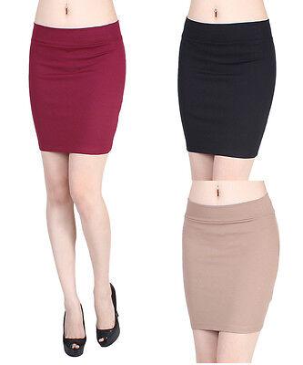D2D Women's Sexy Stretch Slim Plain Straight Tight Bodycon Mini Pencil Skirt