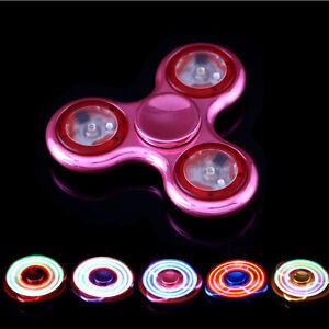 LED light Fidget Hand Spinner Torqbar Brass Finger Toy EDC Focus Gyro Relief