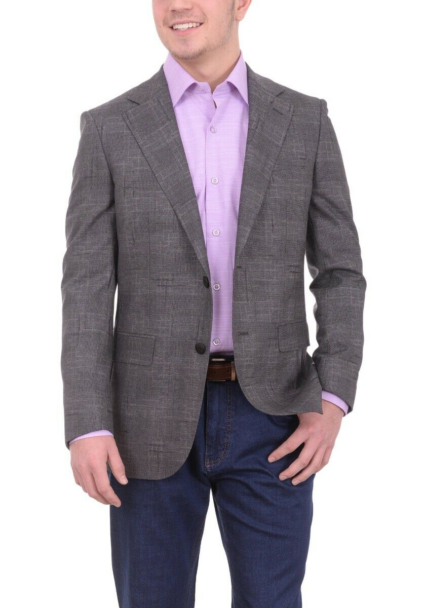 Herren 40R Napoli Slim Fit Dunkelgrau Plaid Half Canvassed Wolle Blazer ...