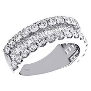 14k-Oro-Blanco-Afilado-Baguette-Diamante-Redondo-3-Filas-Mujer-Alianza-2-6Ct