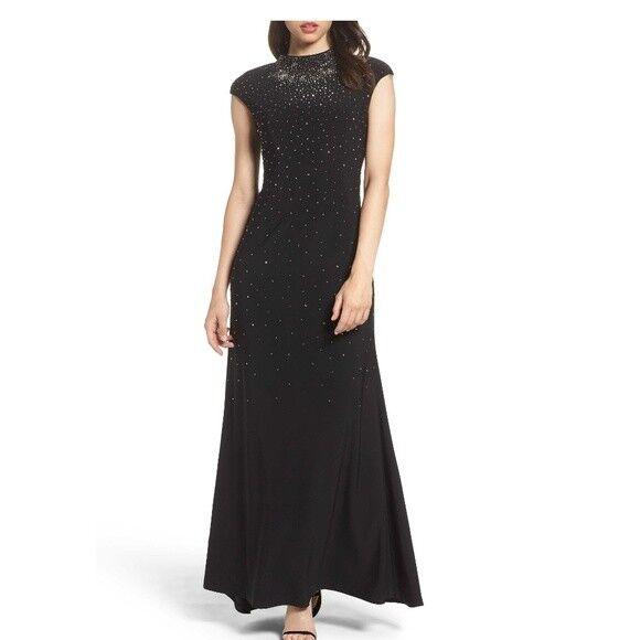 NWT Eliza J Rhinestone Mock Neck Gown schwarz Elegant MAXI FLOWING sz 12 NEW
