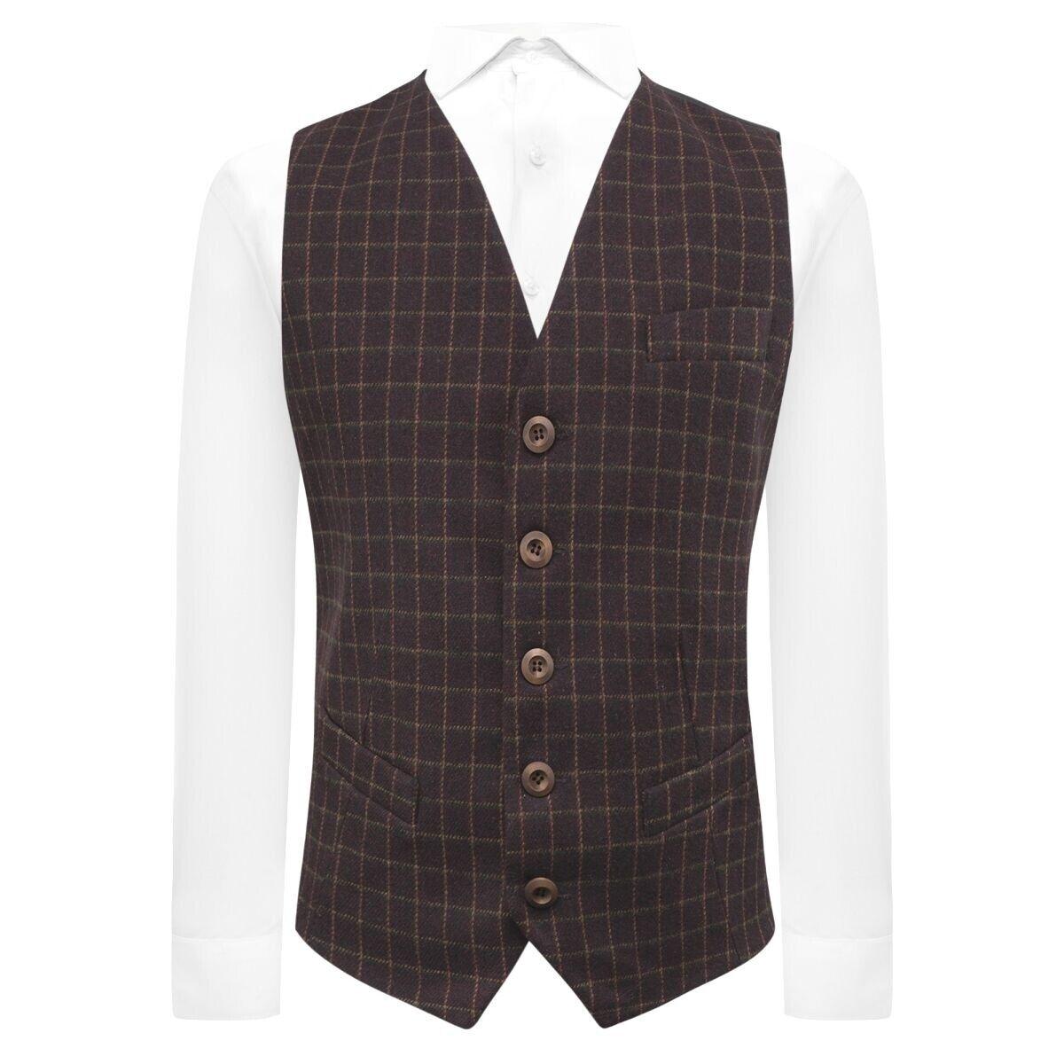 Luxury Merlot Red Tattersall Check Tweed Waistcoat