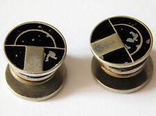 Black enamel snap cufflinks Art Deco pattern Vintage 1920s 1930s Lion Brand A