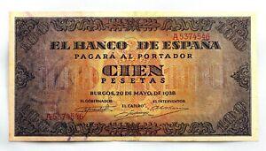 Spain-Guerra-Civil-Billete-100-Peseta-1938-Burgos-EBC-XF-Escaso