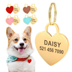Cute-Heart-Shape-Pet-Cat-Dog-Tags-Personalised-Disc-Disk-ID-Collar-Tag-Engraved