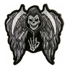 Embroidered Reaper Skull Wings Finger Iron on Sew on Biker Patch Badge